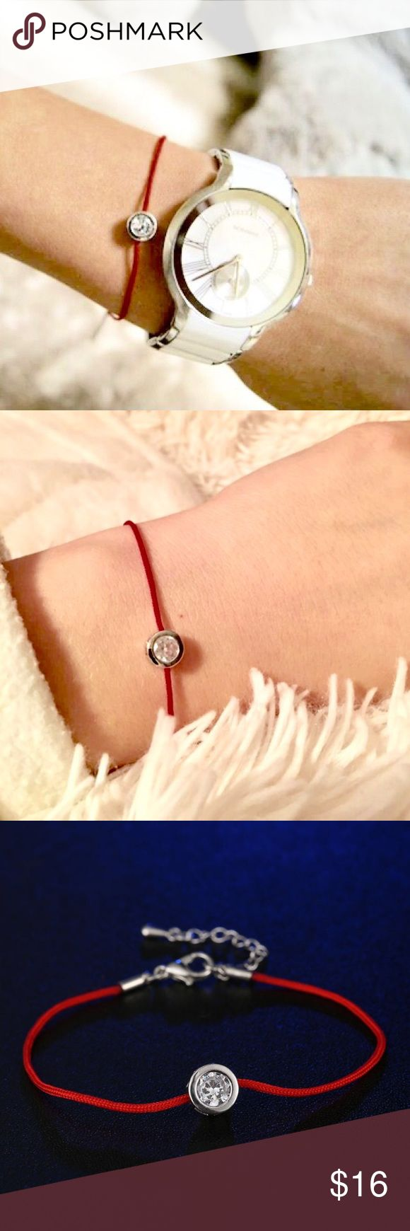 Fashion Red Bracelet with Diamond Fashion Red Cord Bracelet with CZ Diamond Sliver Plated Bracelet. One white, one red and one pink! Get two pieces for $25 Jewelry Bracelets