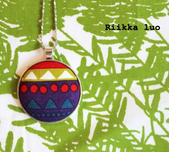 Marimekko fabric pendant necklace  Unique by RiikkaLuoDesigns