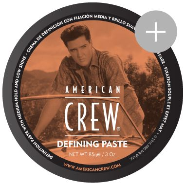 American Crew Defining Paste Medium hold with low shine. Limited Elvis Edition  For added texture or increased definition. Beeswax provides a natural, pliable hold for various lengths. Wax-like consistency provides a matte finish while still remaining easy to distribute through hair.