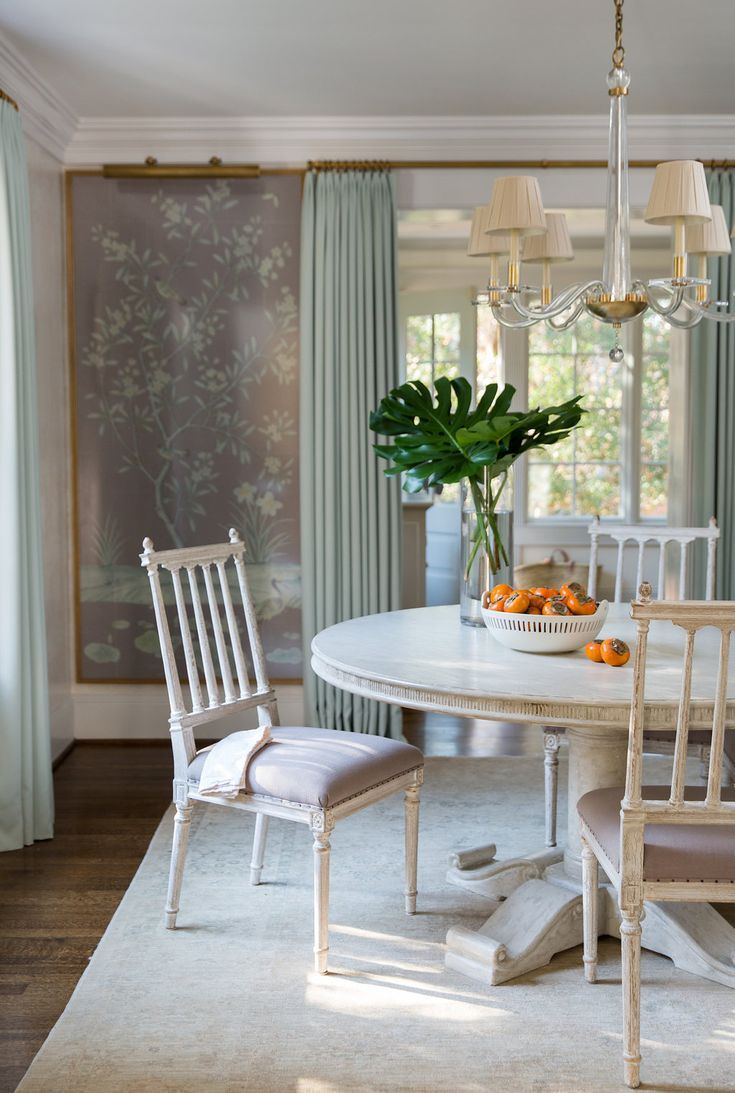 Hello kitty dining room  Gorgeous wallpaper panels in a dining room by Anne Wagoner Interiors