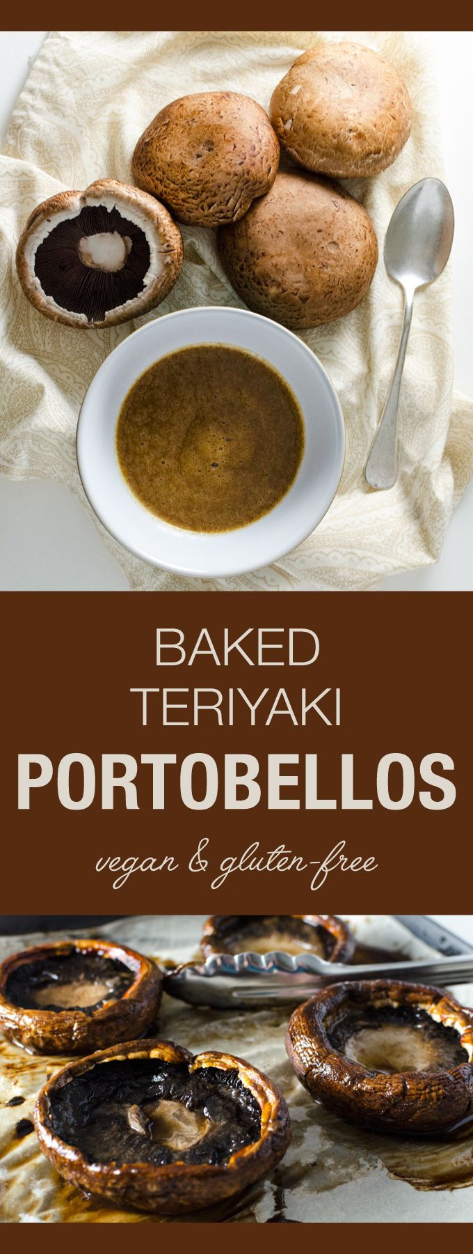 Baked Teriyaki Portobello Mushrooms - a quick and easy addition to a number of different vegan and gluten-free recipes! | VeggiePrimer.com