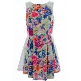 Lola Floral Panel Skater Dress BUY IT NOW ONLY £22 AT www.fuchia.co.uk