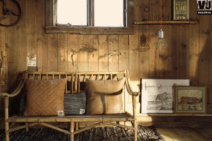 HK living online webwinkel, gratis verzenden Storebror kussen leer quilted cognac/beige 43x43 cm IBB0062 by Villa Jipp