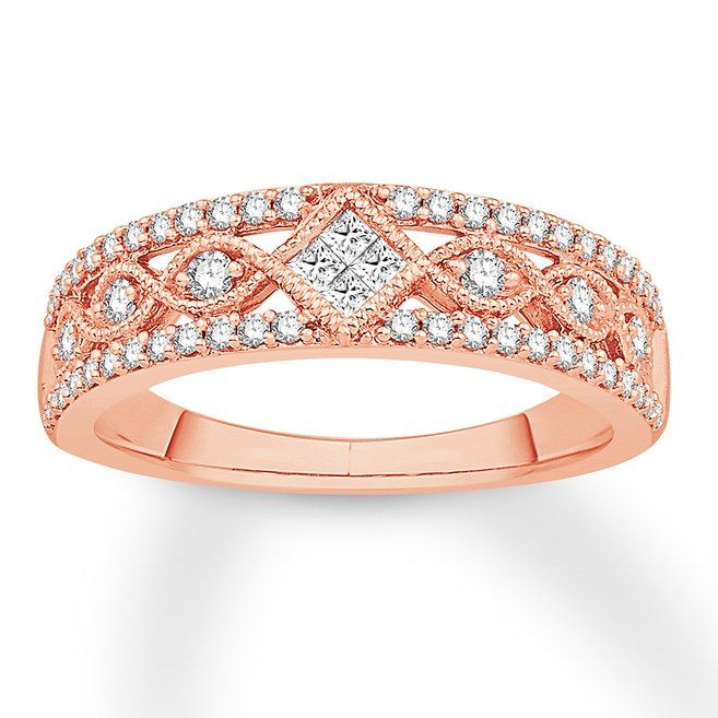 Diamond Anniversary Band 1 2 Ct Tw Princess Round 10k Rose Gold 533035008 Diamond Anniversary Bands Rose Gold Anniversary Rings Diamond Anniversary