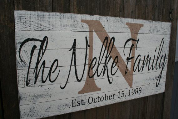 This is a pallet sign that measures 18 x 36. The background is painted vintage ivory, initial is tan and name and date is black.    When you