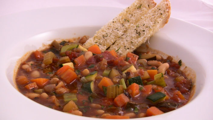 Minestrone with Parmesan Toast - an Italian classic, this soup will keep you happy