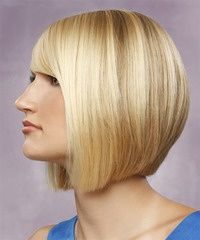 Medium Straight Formal Bob Hairstyle with Side Swept Bangs - Light Blonde Hair Color - #Bangs #blonde #Bob #Color #Formal