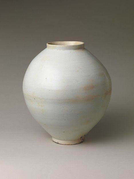 Moon Jar Period: Joseon dynasty (1392–1910) Date: second half of the 18th century Culture: Korea Medium: Porcelain Dimensions: H. 15 1/4 in. (38.7 cm); Diam. 13 in. (33 cm); Diam. of rim 5 1/2 in. (14 cm); Diam. of foot 4 7/8 in. (12.4 cm) Classification: Ceramics
