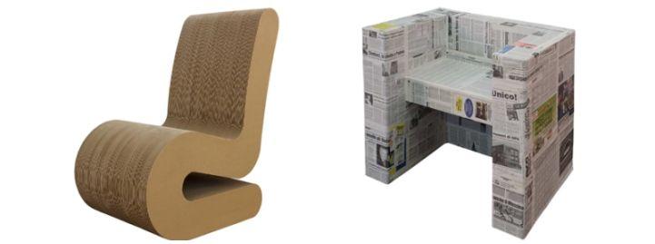arredamento riciclato, poltrone in cartone