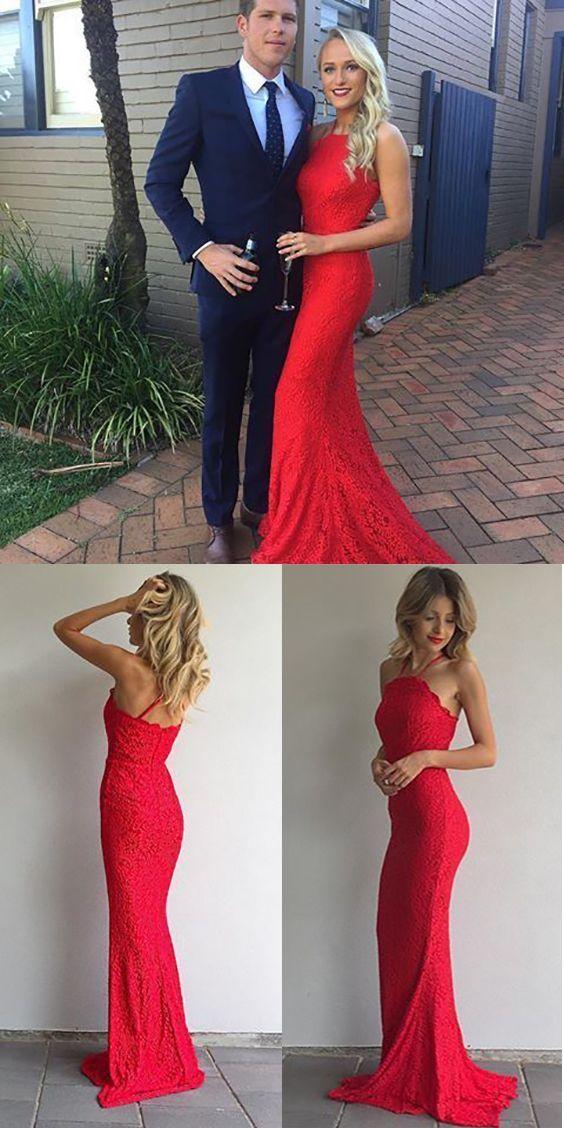 b1b0fa0ef19f Red Prom Dresses Long 2019, Lace Prom Dresses for Teens, Sheath/Column Prom Dresses  Elegant, Halter Prom Dresses Spaghetti Straps #FansFavs #reddress ...