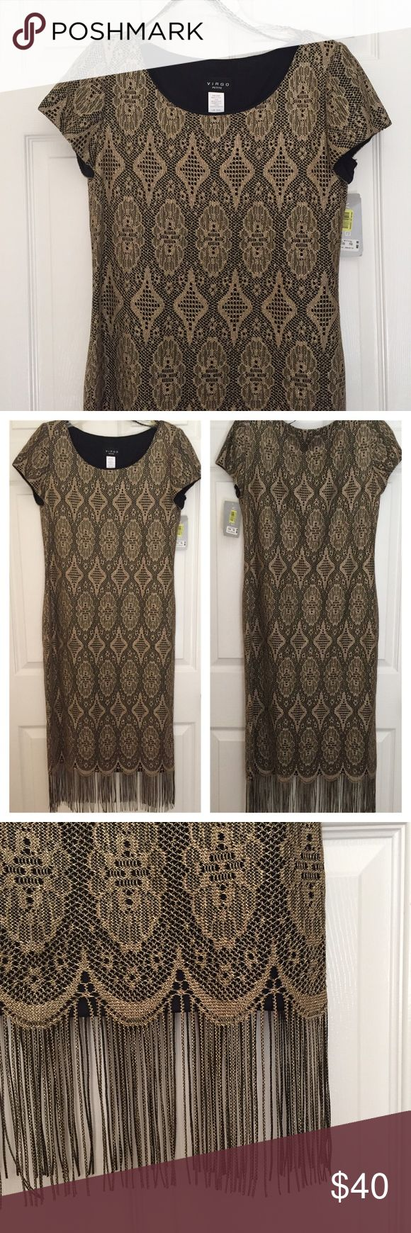 NWT gold crochet dress NWT gold crochet formal dress. Feature scoop neck, short sleeves, black lining, and fringe detail at hem. Virgo Dresses