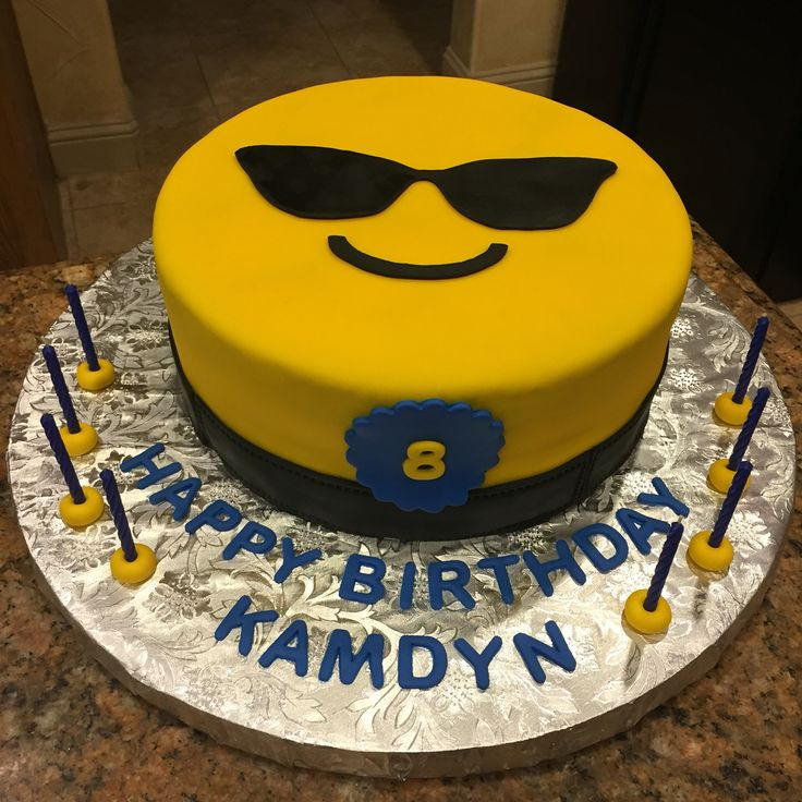 Sunglasses emoji cake!  Emoji birthday cake!