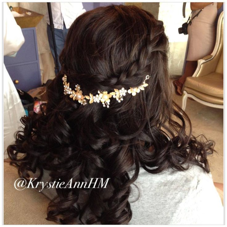 Hair: www.krystieann.com Brunette updo, brunette hair, elegant updo, punta cana bride, punta cana wedding, wedding hair, bridal hair, wedding updo, bridal updo, wedding hair styles, eden roc cap cana, braid, braided updo, curls, half updo