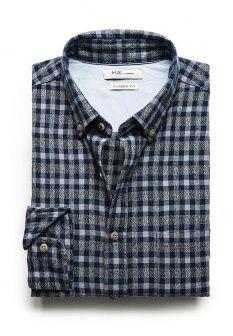 Рубашка Mango Man, цвет: синий. Артикул: HE002EMDLN11. Мужская одежда / Рубашки / Рубашки с длинным рукавом