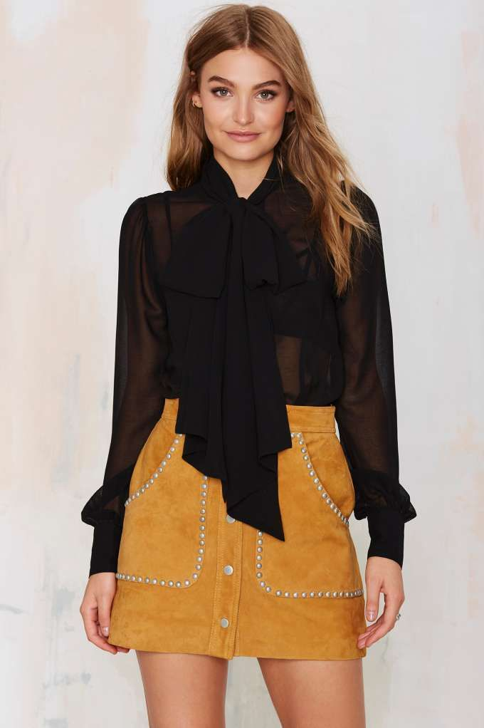 In love with the Nasty Gal Marianne Pussy Bow Blouse! Sheer perfection.: