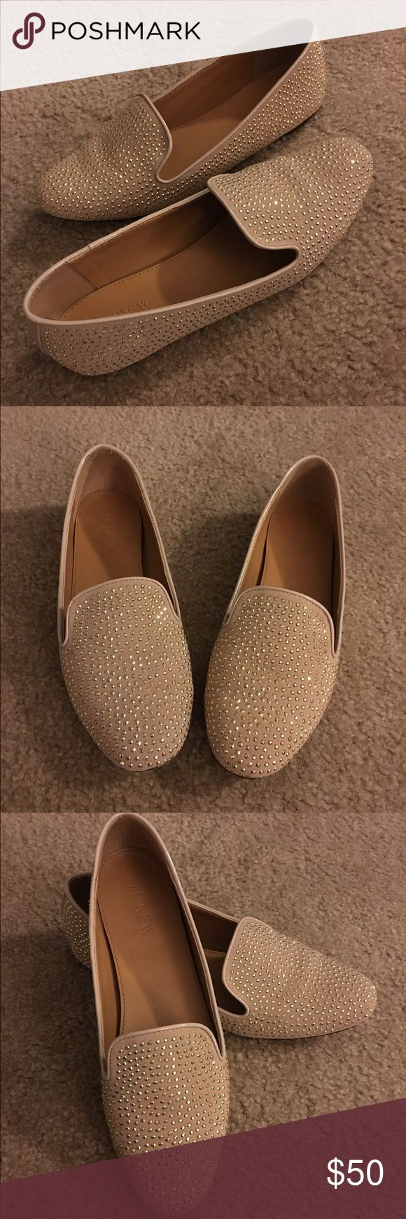 J.Crew Factory Addie Suede Studded Loafers Nude suede flat with gold studs all over. Patent trim. Great condition. J. Crew Shoes Flats & Loafers