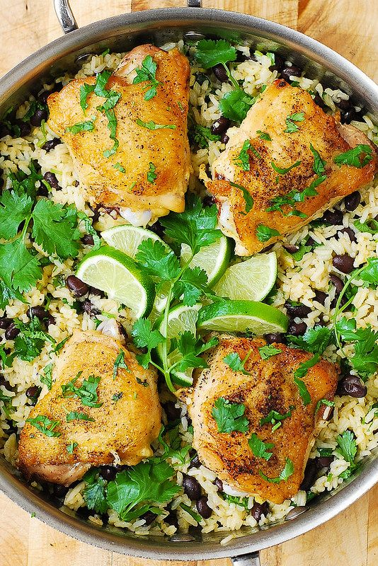 One-Pot Chicken Thighs with Cilantro-Lime Black Bean Rice >> this was really good, and really easy!