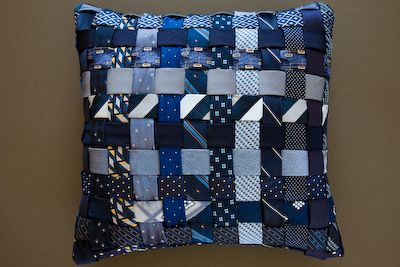 I've made pillows like this with ribbons, but not with repurposed TIES!    by Ties 2 Pillows