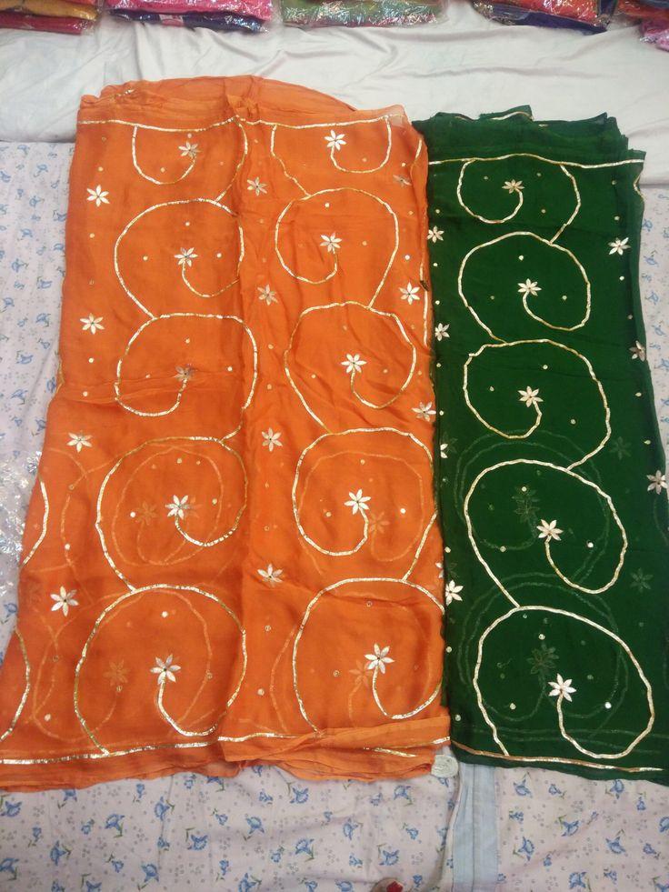 Chiffon saree jaal work