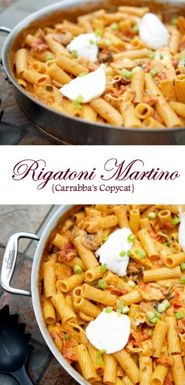Rigatoni Martino {Carrabba's Copycat}  Rigatoni combined with sun dried tomatoes, mushrooms and grilled chicken in a pink cream sauce, then topped with ricotta cheese and scallions.