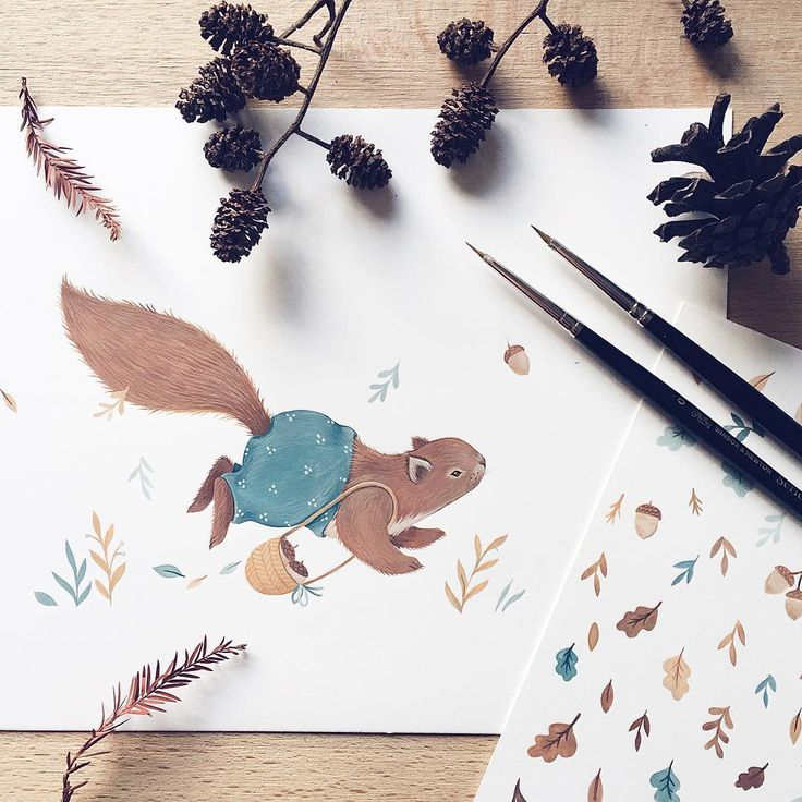 """Little """"squirrely"""" piece for my upcoming calendar  I feel like fall is just around the corner"""