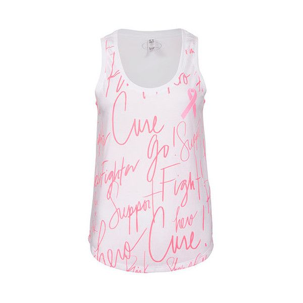 Under Armour Women's Power In Pink All Over Print Tank, White ($25) ❤ liked on Polyvore featuring activewear, activewear tops, white, pink sportswear, tail activewear, under armour and under armour sportswear