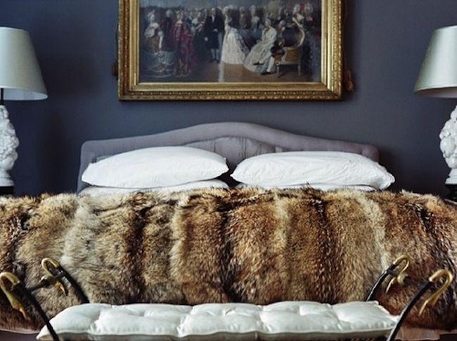 Wonderful Faux Fur Throw, Dark Grey Moody Walls, Vintage Stool, Classical Painting