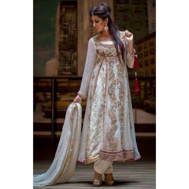 Off-White Crinkle Chiffon Anarkali Dress Contact: (702) 751-3523 Email: info@pakrobe.com Skype: PakRobe