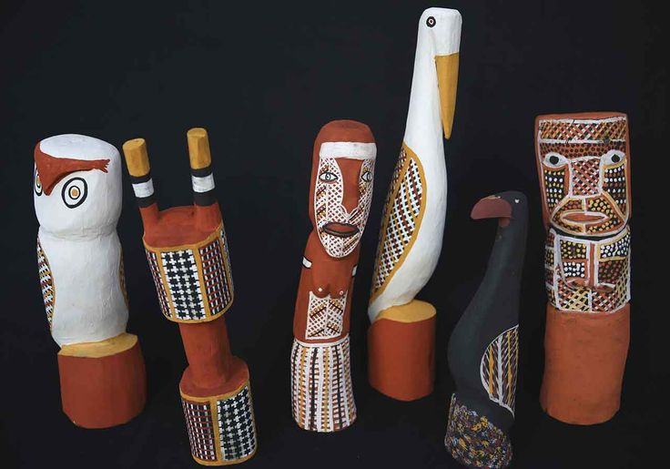 Tiwi artists of Bathurst Island have a rich heritage of sculpture based on ceremonial carvings- see decorated totems & animals exhibited at Japingka Gallery