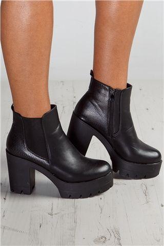 Erin Black Snakeskin Platform Chelsea Boots