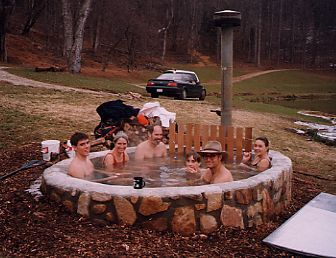 Wood-fired outdoor hot tub. Requires no electricity or chemicals. Ready to use in 3 hours.