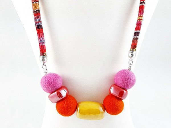 Women's Day SALE 50% off coupon code MODO2016 Felted Jewelry, Felt and Ceramic Necklace, Gift for Woman, Gift for Her, Gift for Women's Day by modotikon on Etsy