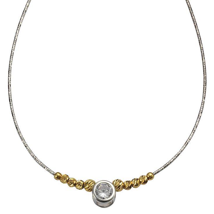 CELESTA Collier Omega »925/- Sterling Silber Zirkonia bicolor/diamantiert« Jetzt bestellen unter: https://mode.ladendirekt.de/damen/schmuck/halsketten/colliers/?uid=25aabac5-622c-56d2-88f5-26a15e68e9a3&utm_source=pinterest&utm_medium=pin&utm_campaign=boards #schmuck #halsschmuck #halsketten #colliers