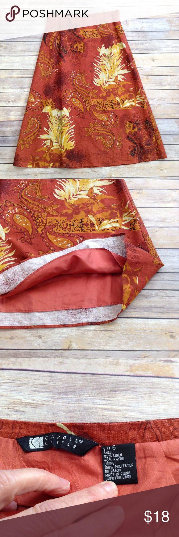 "Carole Little burnt orange maxi skirt Absolutely no flaws! Vibrant fall colors!  APPROX FLAT MEASUREMENTS  32"" ↕️ 16"" ↔️ waist 30"" ↔️ hemline Carole Little Skirts Maxi"