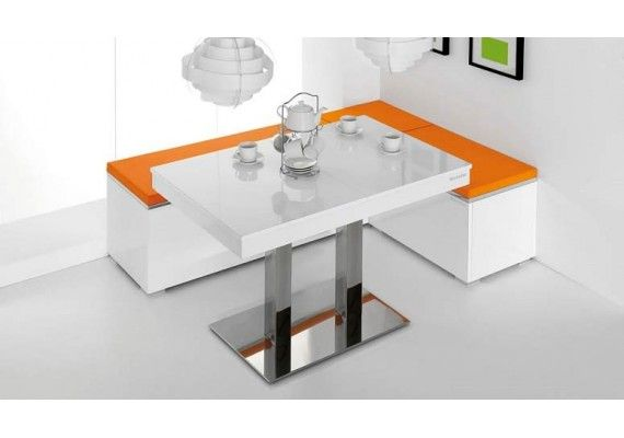 Mesa cocina extensible Manhattan con pie central vimens