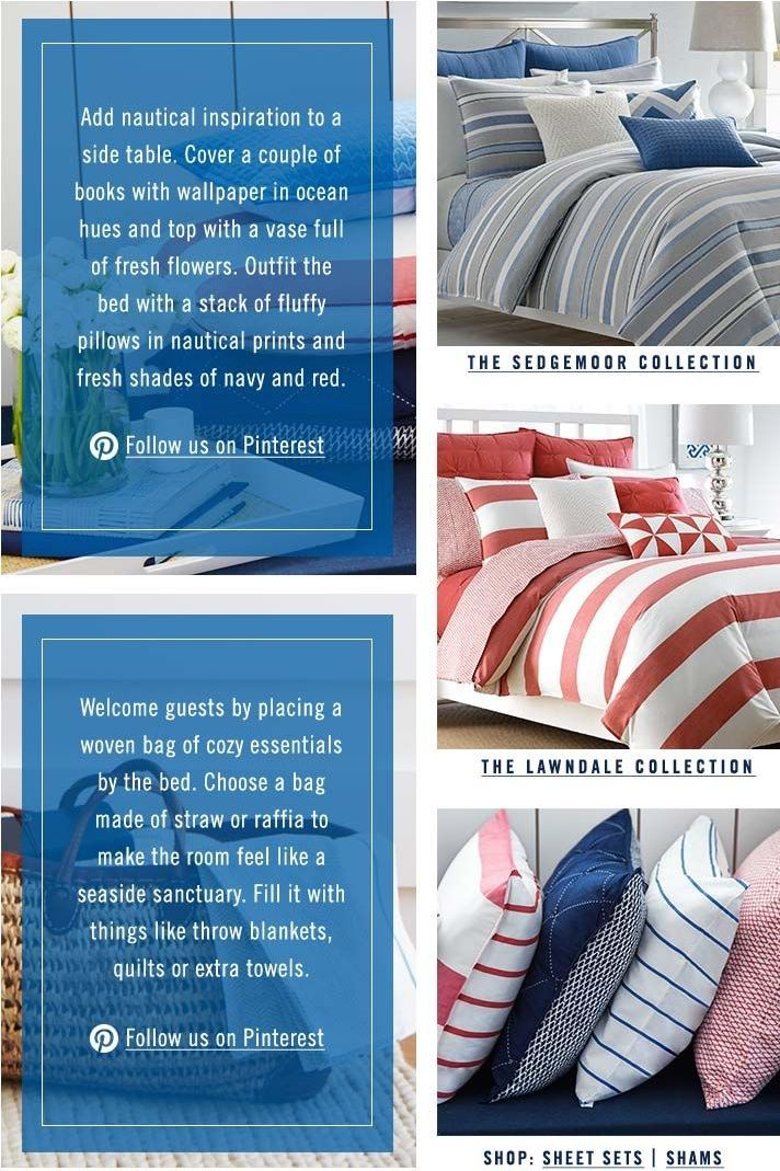 Nautica Home Bedding Tips! Add nautical inspiration to a side table. Cover  a couple