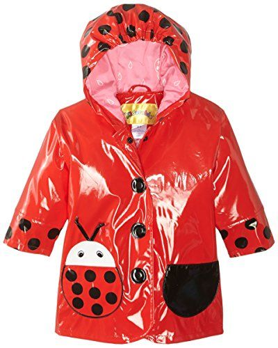 This Kidorable Little Girls' ladybug rain coat will keep our toddler dry and comfortable on rainy days. It is made of a shiny PVC/polyester material and comes with a protective elastic hood. The raincoat is printed with ladybug dots and features bug-shaped waterproof patch pockets. The snap button front opens and closes securely, too.
