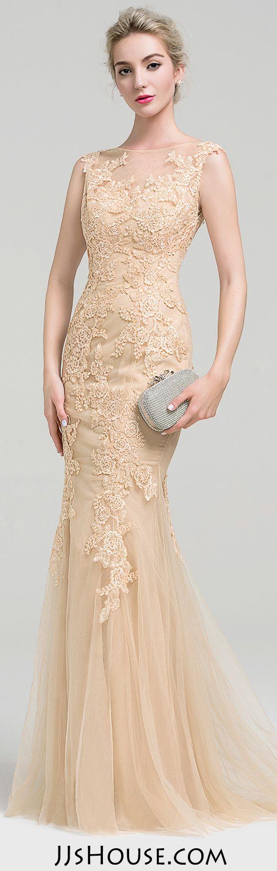 Elegant Trumpet/Mermaid Scoop Neck Floor-Length Tulle Lace Evening Dress. #JJsHouse