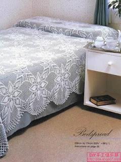 Pretty, pretty square assemble crochet bedspread with diagrams