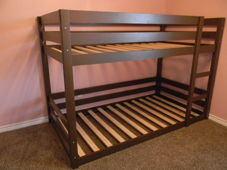 DIY bunk beds for the girls that the hubby will feel comfortable with! I'm definitely turning Layla's loft bed into this very soon!...but with short short legs added to the bottom.