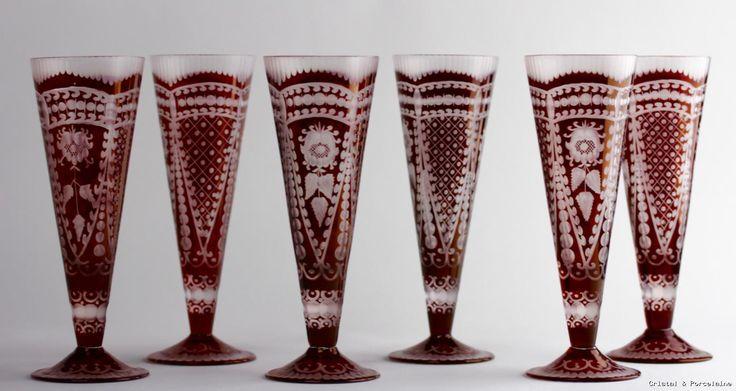 Cristal de boheme /rouge/ verre flutes