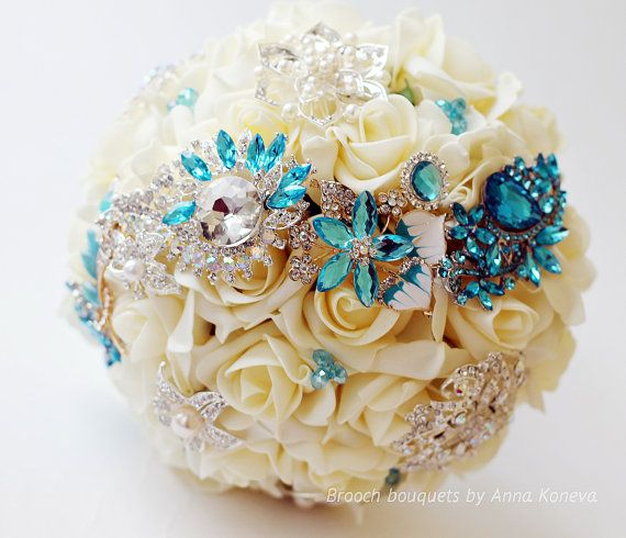 Turquoise Brooch Bouquet Wedding Ivory Brooch bouquet Crystal bouquet Blue brooch bouquet Bridal Broach bouquet Turquoise Wedding Jewelry. This listing is for a Deposit of... #trending #trend #weddingideas #happytime #winter