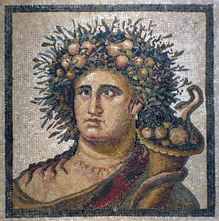 MAN. Busto masculino, finales del siglo II. Mosaico de decoración arquitectónica. Mármol y caliza, opus tessellatum, 88 X 85. Procede de Aranjuez, Madrid. | by c0ntraband
