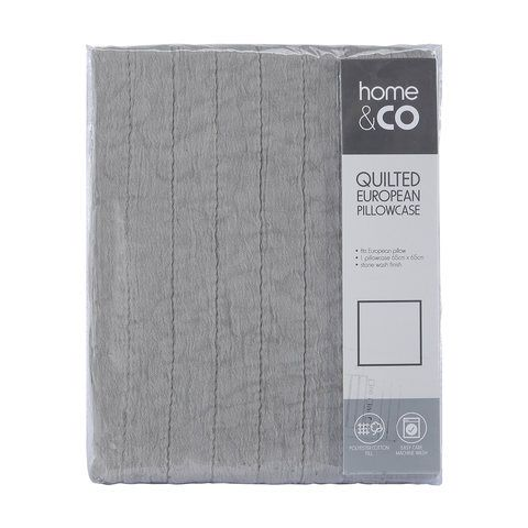 Quilted European Pillowcase - Grey