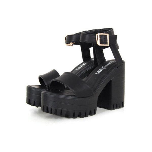 SheIn(sheinside) Black Chunky High Heel Buckle Strap Hidden Platform... (1.920 RUB) ❤ liked on Polyvore