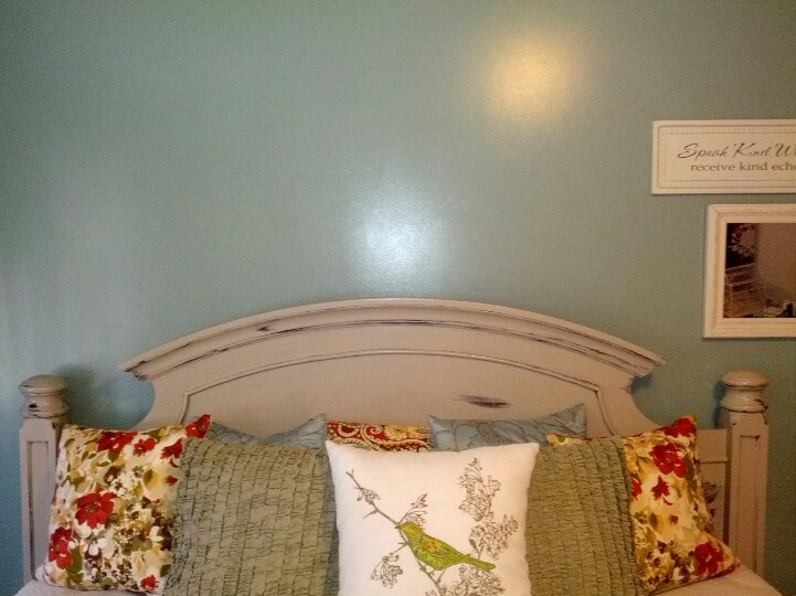 I took my cherry wood bed frame and refinished in cream leaving hints of natural wood showing - Tete cherry bed ...