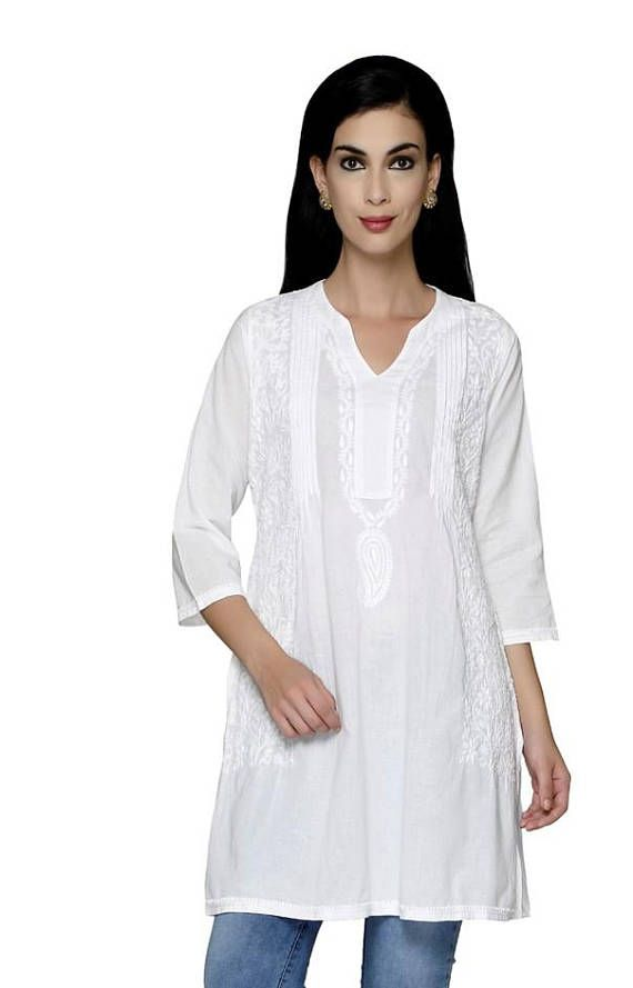 98cefc3766a1fc You can never go wrong with this white chikankari tunic crafted using pure  Cotton fabric especially for those women who love to flaunt their real self.