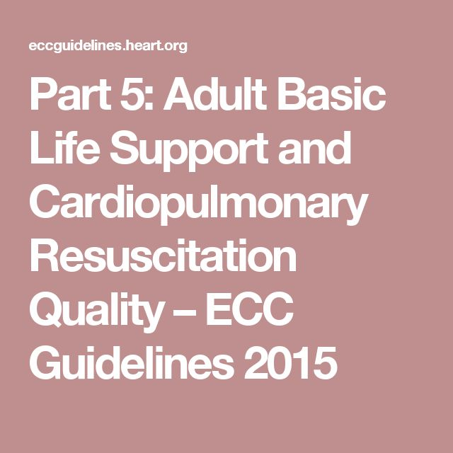 Part 5: Adult Basic Life Support and Cardiopulmonary Resuscitation Quality – ECC Guidelines 2015