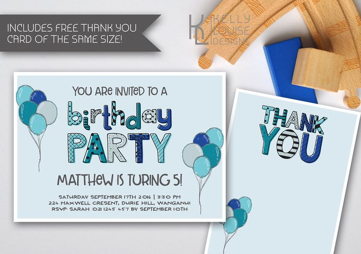 Blue Birthday Party Invitation | Doodle Style Invitation | Blue Birthday Invitation | Little Boys Birthday | Blue Balloons Invitation (048) by kellylouisedesigns on Etsy