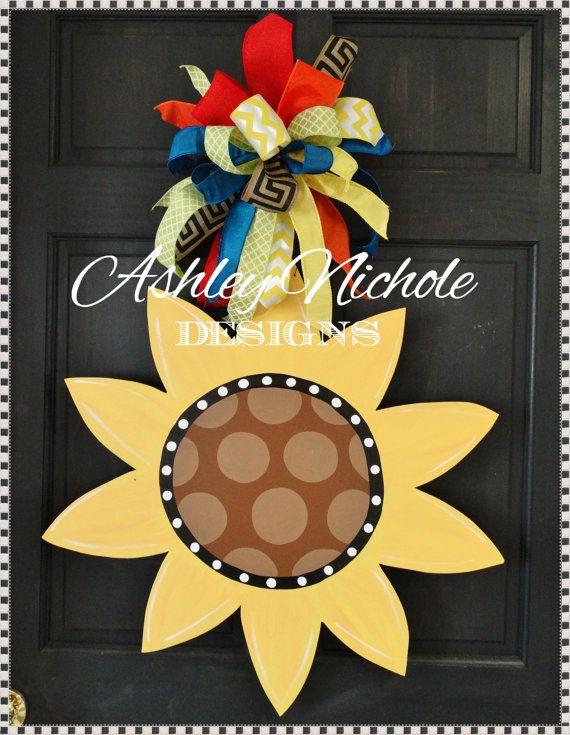 Sunflower Door Hanger, Door Decoration,  Fall Wreath